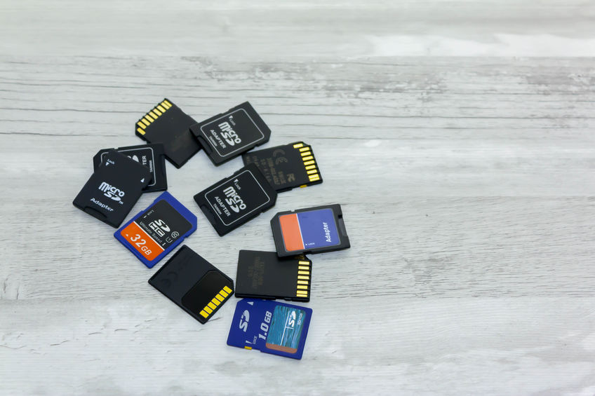 Some memory cards on a table