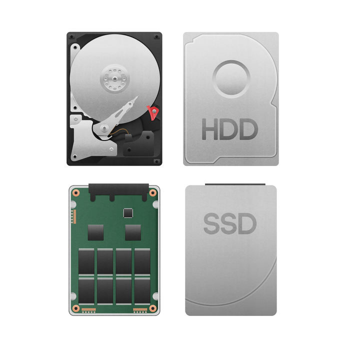 paper cut of hard disk drive vs ssd isolated is data storage equ